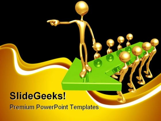 Guiding Arrow Leader Leadership PowerPoint Themes And PowerPoint Slides 0611