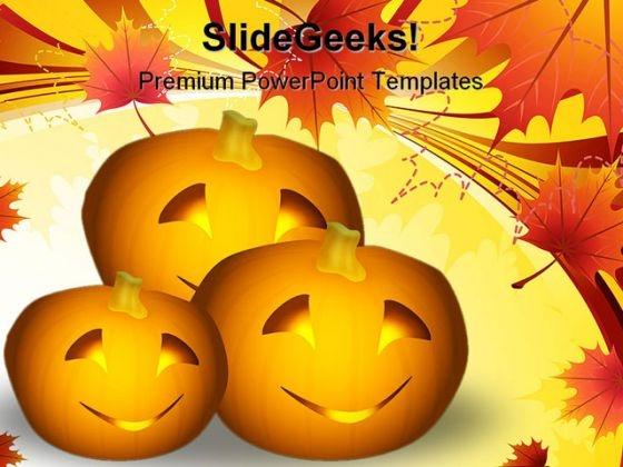Halloween Pumpkins Nature PowerPoint Template 1010