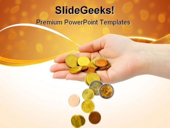 Hand And Falling Coins Money PowerPoint Themes And PowerPoint Slides 0711