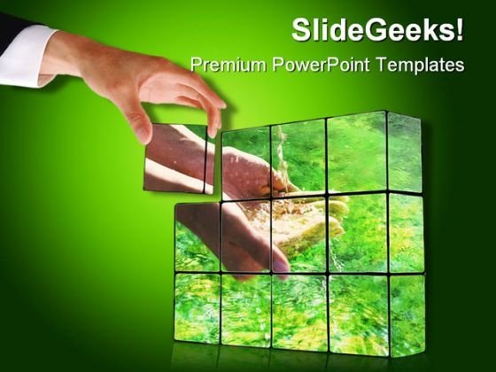 Hand Building Cubes Nature PowerPoint Backgrounds And Templates 1210