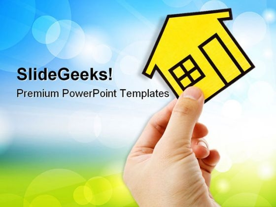 Hand Holding A Home Real Estate PowerPoint Themes And PowerPoint Slides 0411