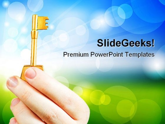 Hand Holding A Key Success PowerPoint Templates And PowerPoint Backgrounds 0311
