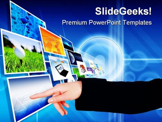 Hand On The Flow Business PowerPoint Template 1110