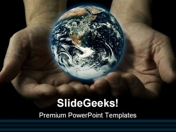 Hands Globe PowerPoint Template 0810