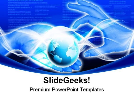 Hands Line Planet Earth Global PowerPoint Themes And PowerPoint Slides 0211