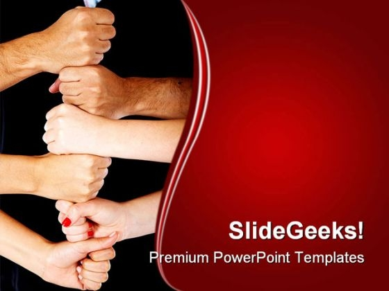 Hands Making A Tower Business PowerPoint Themes And PowerPoint Slides 0411