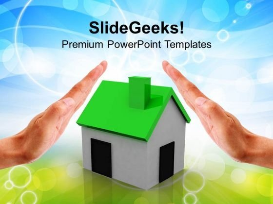 Hands Over A Small Green House PowerPoint Templates Ppt Backgrounds For Slides 0113