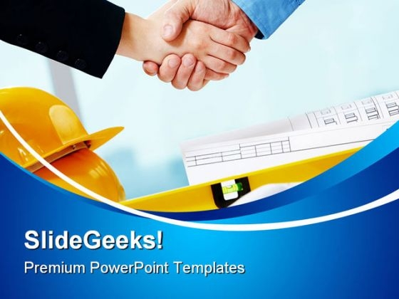 Handshake Construction PowerPoint Themes And PowerPoint Slides 0411