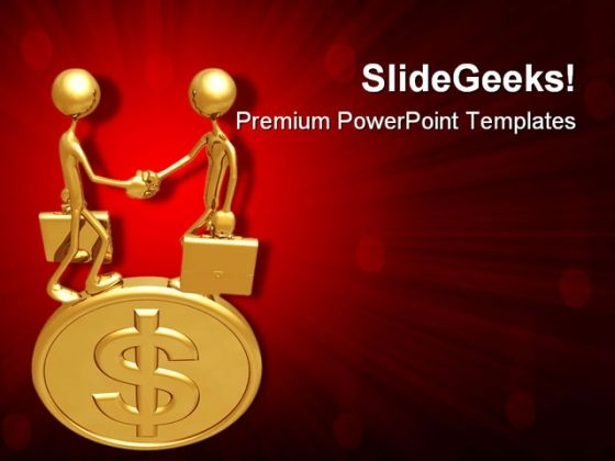 Handshake On Dollar Coin Money PowerPoint Templates And PowerPoint Backgrounds 0711