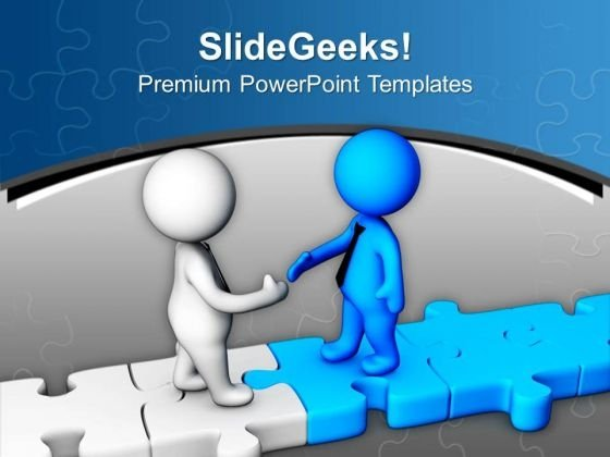 Handshake On Puzzle Path PowerPoint Templates Ppt Backgrounds For Slides 0713