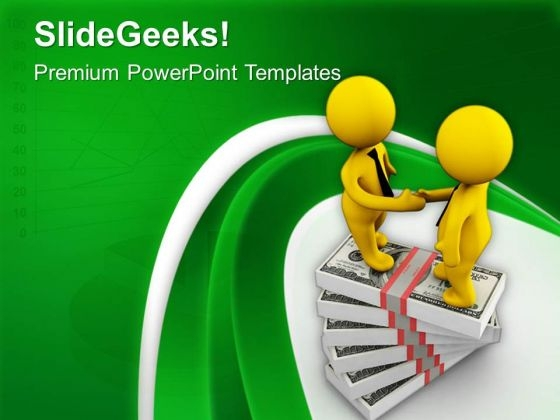 Handshake On Stack Of Dollars PowerPoint Templates Ppt Backgrounds For Slides 0713