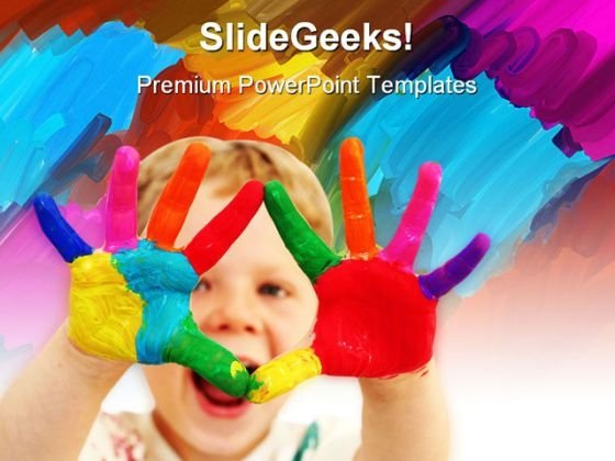 Happy Child With Painted Hands Art PowerPoint Themes And PowerPoint Slides 0711