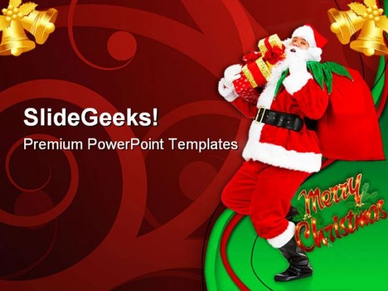 Happy Christmas Santa Festival PowerPoint Templates And PowerPoint Backgrounds 0611