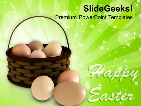 Happy Easter Day With Eggs In Basket PowerPoint Templates Ppt Backgrounds For Slides 0313