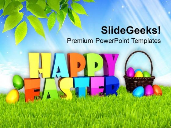 Happy Easter Theme With Multicolored Eggs Theme PowerPoint Templates Ppt Backgrounds For Slides 0313