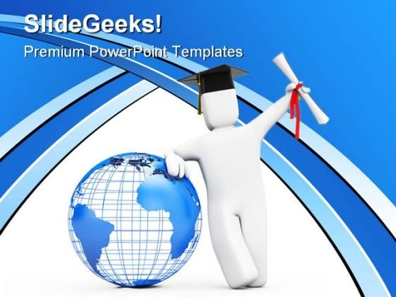 Happy Graduate Globe PowerPoint Background And Template 1210
