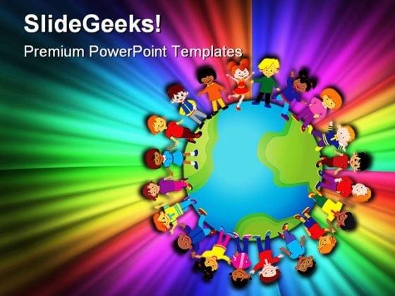 Happy Kids Global PowerPoint Template 0810