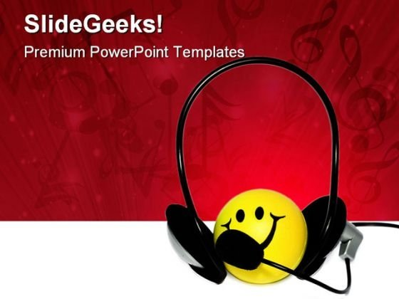 Happy Listener Music PowerPoint Templates And PowerPoint Backgrounds 0711