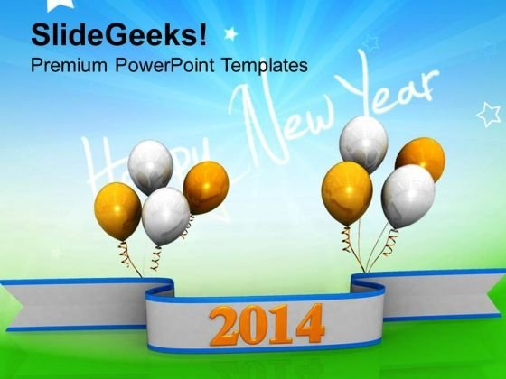Happy New Year 2014 Business PowerPoint Template 1113