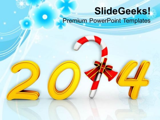 Happy New Year And Candy Cane PowerPoint Template 1113