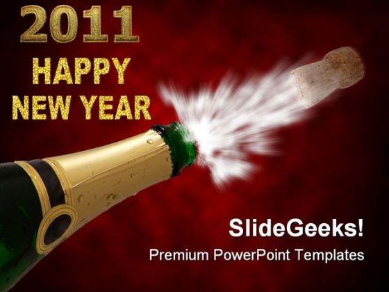 Happy New Year With Champagne Festival PowerPoint Templates And PowerPoint Backgrounds 0711