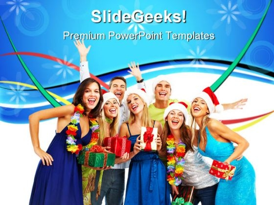 Happy People Enjoy Christmas PowerPoint Templates And PowerPoint Backgrounds 0611