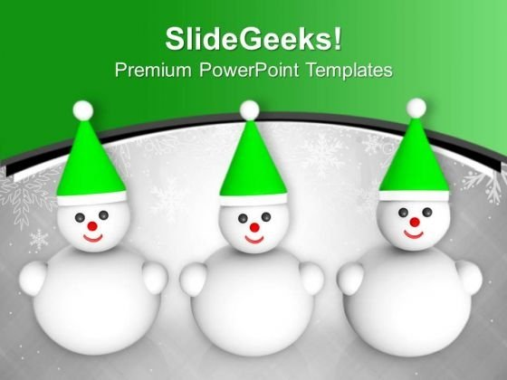 Happy Snowman Friends Winter Christmas PowerPoint Templates Ppt Backgrounds For Slides 0113