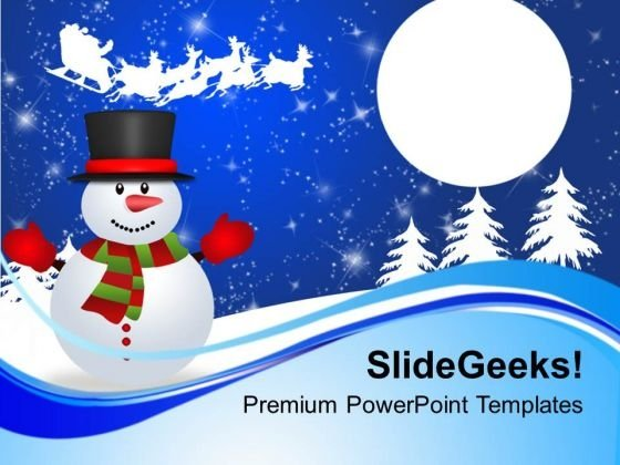 Happy Snowman Waving To Santa Sleigh Holidays PowerPoint Templates Ppt Backgrounds For Slides 1112