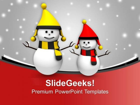 Happy Snowmen On Christmas Background PowerPoint Templates Ppt Backgrounds For Slides 0113