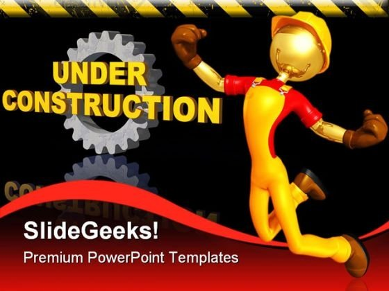 Happy Worker Under Construction PowerPoint Templates And PowerPoint Backgrounds 0511