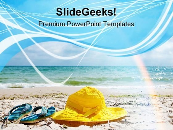 Hat And Flip Flop Beach PowerPoint Themes And PowerPoint Slides 0411