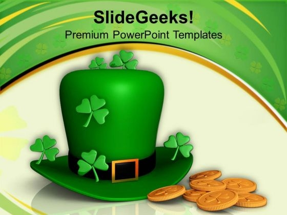 Hat And Shamrocks With Gold Coins Patricks Day PowerPoint Templates Ppt Backgrounds For Slides 0313