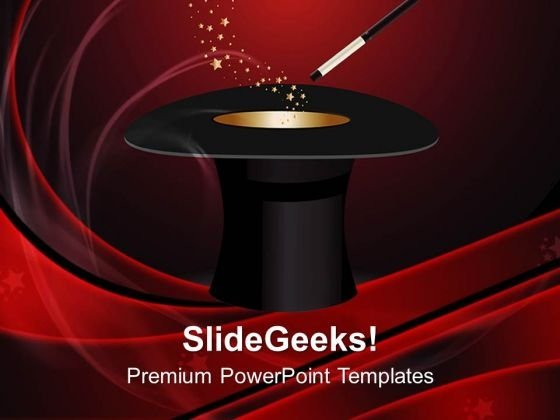 Hat Magic Wand With Stars PowerPoint Templates And PowerPoint Themes 0712