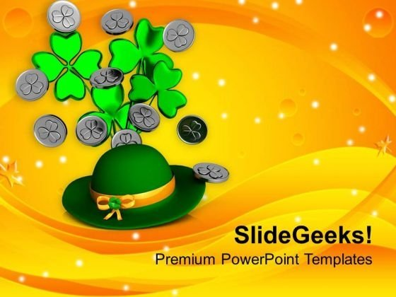 Hat With Bunch Of Clover And Coins Festival PowerPoint Templates Ppt Backgrounds For Slides 0313