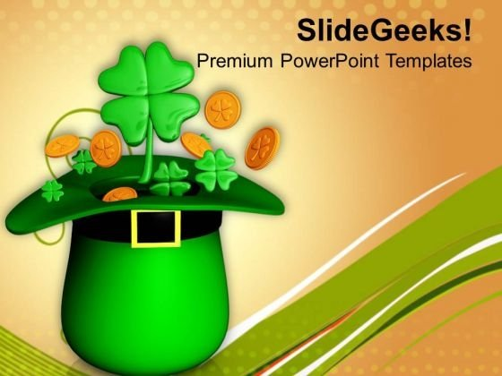 Hat With Gold And Clovers Shamrock Patrick PowerPoint Templates Ppt Backgrounds For Slides 0313