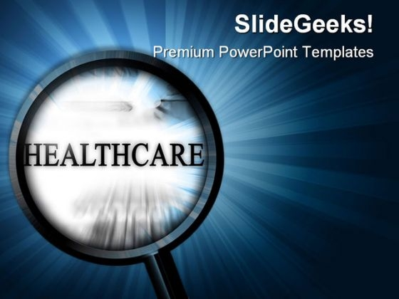 Healthcare With Magnifier Health PowerPoint Themes And PowerPoint Slides 0911