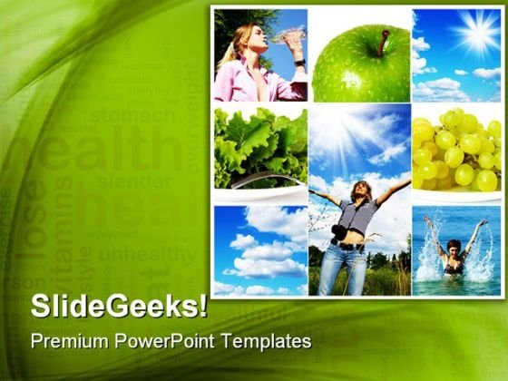 Healthy Lifestyle Concept Health PowerPoint Themes And PowerPoint Slides 0811