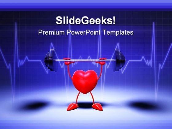 Heart Fittness Medical PowerPoint Template 0610