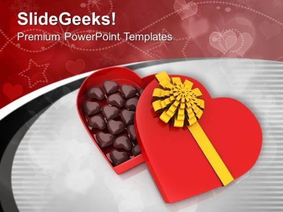 Heart Shaped Gift Box For Weddings PowerPoint Templates Ppt Backgrounds For Slides 0713