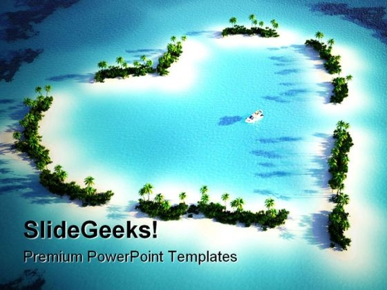 Heart Shaped Island Beauty PowerPoint Templates And PowerPoint Backgrounds 0511