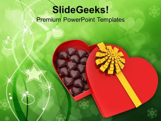 Heart With Chocolates For Valentines Day PowerPoint Templates Ppt Backgrounds For Slides 0213