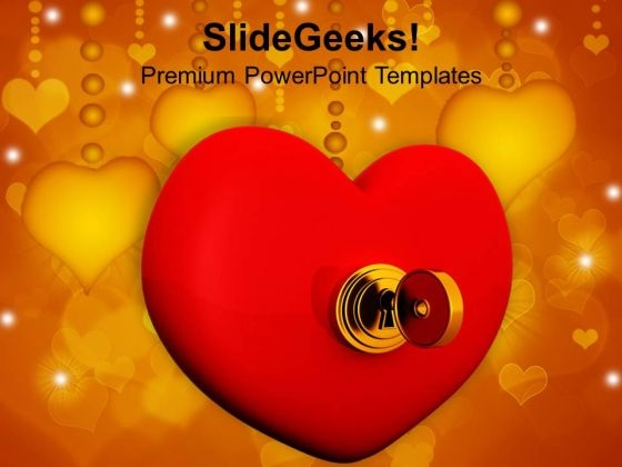 Heart With Key Wedding PowerPoint Templates Ppt Backgrounds For Slides 0213