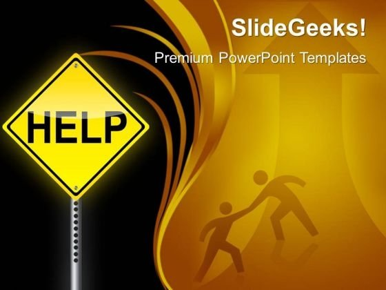 Help Signpost Metaphor PowerPoint Templates And PowerPoint Themes 0412