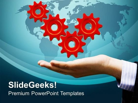 Hold The Business Success Gears PowerPoint Templates Ppt Backgrounds For Slides 0713