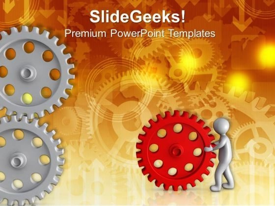 Holding Right Gear In Business PowerPoint Templates Ppt Backgrounds For Slides 0713