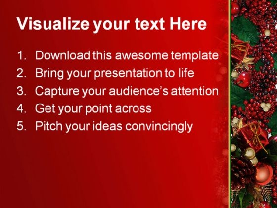 Holly Berries Christmas Powerpoint Template   Powerpoint Themes