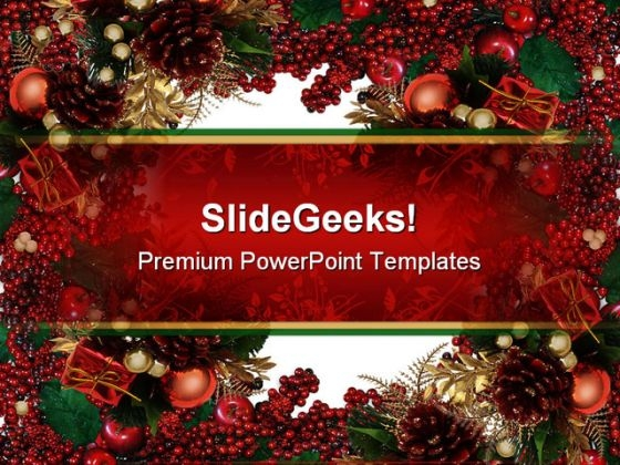 Holly Berries Christmas Powerpoint Template 0610 - Powerpoint Themes