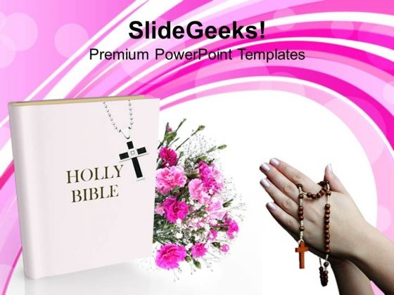 Holly Bible With Flowers Christianity PowerPoint Templates Ppt Backgrounds For Slides 1212
