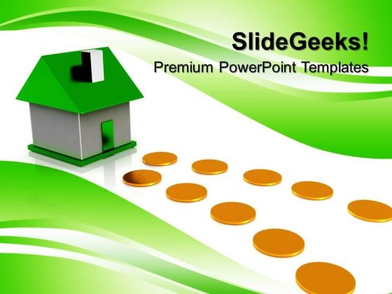Home Cottage With Coins Real Estate PowerPoint Templates And PowerPoint Themes 0712