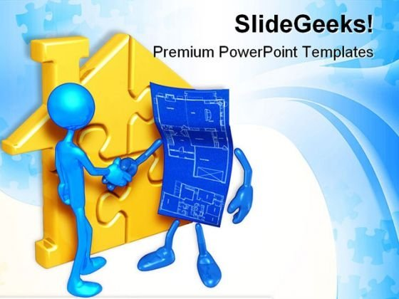 Home Puzzle And Blueprint Handshake PowerPoint Templates And PowerPoint Backgrounds 0611